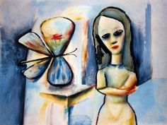 Girl and Butterfly Charles Blackman