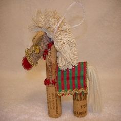 Wine Cork Horse Ornaments