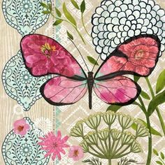 Pink Flower Butterfly Dream by Jennifer Brinley | Ruth Levison Design