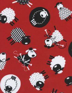 Black and White Sheep Farm Animals on Red Cotton Fabric Print (FUN-C9182)