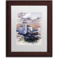 Trademark Fine Art 'Lighthouse' Canvas Art by Jenny Newland, White Matte, Wood Frame, Size: 11 x 14, Assorted