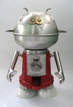 'Scooper' - Found Object Assemblage Sculpture Robot by adopt-a-bot Recycled Robot, Recycled Art, Repurposed, Arte Robot, Robot Art, Found Object Art, Found Art, Metal Animal, Sculpture Metal