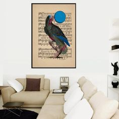 Parrot on a music sheet Instant Digital by VintageLithoArt on Etsy