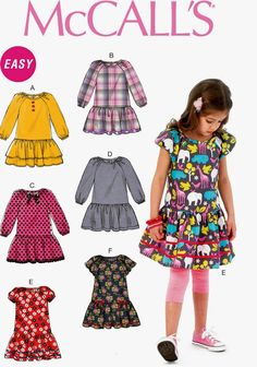 Girls' Dresss Pattern, Girls' Long Sleeve Dress Pattern, Girls' Drop Waist Dress…