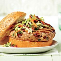Herb and Cranberry Turkey Burger With Caraway Coleslaw recipe