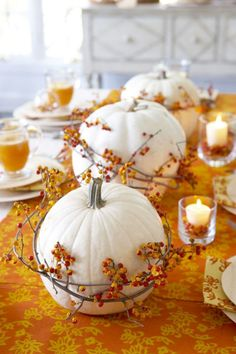 12 beautiful tablescapes sure to inspire your own Thanksgiving gathering.