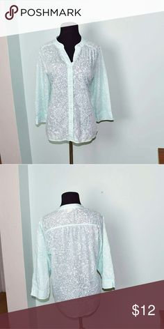 Gorgeous Aqua Colored Button Down Blouse In excellent condition. Very chic and stylish. Super soft, comfortable, and stretchy! Buy 3 items, get one free plus 15% off your purchase total! Tops Blouses