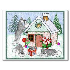 Gingerbread House Schnauzer PostCard on Zazzle! #schnauzer #miniatureschnauzer #SchnauzerChristmas #postcard #loribushart
