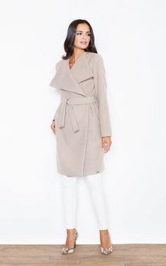Beige Long Coat Like Jacket Made Of Scuba Knit... - SilkFred Scuba Fabric 1c60de519