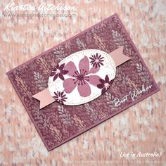 handmade greeting card by Kirsten Aitchison: Best Wishes with Blooms & Wishes for Just Add Ink #354 ... monochromatic purple ... patterned paper background sets the color scheme ... simple layout with complex look from all the flowers ... Stampin' Up!
