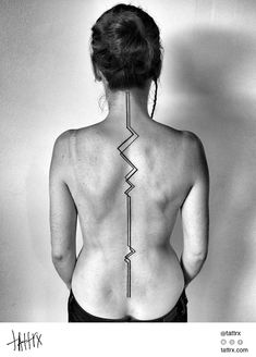 Abstract, black and white, geometric, minimalist, back tattoo on TattooChief.com