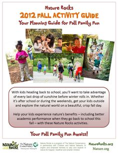 Download an outdoor (fall) activity guide and spend some family fun with your kids! http://www.naturerocks.org/ #fall #kids #activities