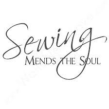 Sewing mends the soul. We love puns around here, especially ones that are cute and removable, like this vinyl wall quote decal. Mend your soul with some punny temporary art. My Sewing Room, Sewing Rooms, Love Sewing, Sewing Spaces, Hand Sewing, Applique Vintage, Vintage Sewing, Sewing Crafts, Sewing Projects