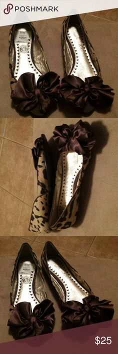 Libby Edelman shoes Leopard with brown bow ,like new only worn once Libby . edelman Shoes Flats & Loafers