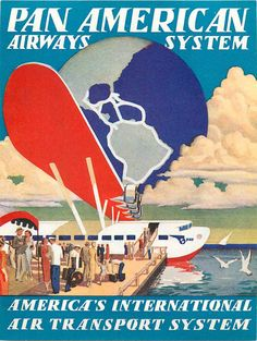 PAN AMERICAN Flying Boat - Amazing ART DECO Airline Luggage Label, 1935