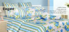 100% Cotton Bed Set    Boasting a beautiful design and superb quality, this blue,green and white colored bed sheet set makes for a stunning addition to your home linen collection. It is made from pure cotton that adds to its worth.