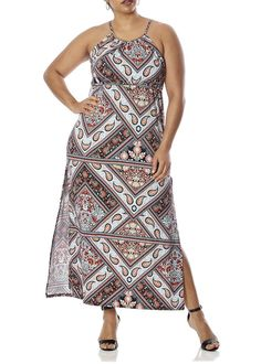 [77966XR-CRL/MNT-1X] Love Collection Paisley Print Halter Dress for Women - Plus Size, Spandex Made by #Love Collection Color #Coral/Mint. EYE-CATCHING DESIGN: Turn heads while wearing this gorgeous paisley printed halter maxi dress.. FIGURE FLATTERING: Fitted style made with poly spandex, is flattering on all body shapes and sizes.