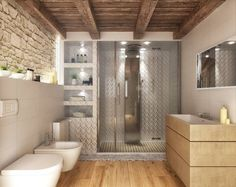 Ванные комнаты в Рустикальный. Автор - Render&Design | ONLINESTUDIO