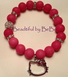 Hello Kitty~hot pink matte beads