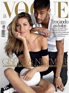 Gisele Bundchen & Neymar Jr by Mario Testino for Vogue Brazil June 2014 Vogue Magazine Covers, Fashion Magazine Cover, Fashion Cover, Vogue Covers, Vogue Korea, Vogue Us, Vogue India, Vogue Spain, Vogue Russia