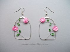 Wire rose earrings with nail polish by semeistvoadams.blogspot.com