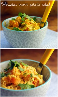 {Hawaiian Sweet Potato Salad} I'm not a big fan of regular potatoes (I don't even like French fries), but I adore all things sweet potatoes. This recipe involves lime and ginger. Hawaiian Dishes, Hawaiian Luau, Hawaiian Parties, Hawaiian Recipes, Hawaiian Islands, Vegetarian Recipes, Cooking Recipes, Healthy Recipes, Cooking Tips