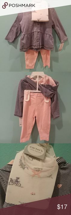 🆕 Carter's 3-piece set NWT baby little layette 3 pcs set. Blue & white strip hooded light jacket, onies, & light pink pants. Great gift for new baby 👶 Carter's Matching Sets