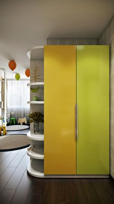 Bedroom Design, Green Yellow Door Cabinet For Kids Room Decor Ideas For Boys Also White Ornament Shelves Also Brown Laminate Floor: The Best Kids Room Decor Ideas for Boys