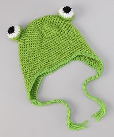 Take a look at this Green Frog Earflap Beanie by Hair Bows Unlimited on #zulily today!