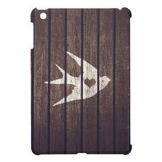Vintage White Love Heart Bird Wood Panels Stripes iPad Mini Cases