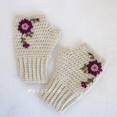 Crocheted Embellished Ladies Fingerless Mitts in Natural by R0SEDEW