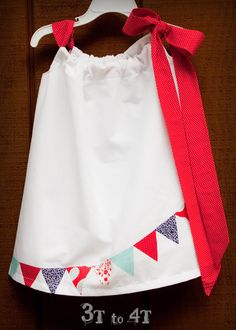 4th of July Girls Bunting Dress or Top -3T to 5T -Lined-. $24.99, via Etsy.