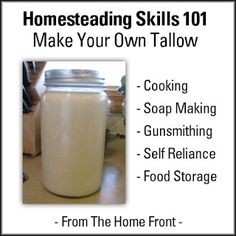 How to make your own tallow. Rendered tallow makes lovely soap, and has many other uses, it can be stored for extended periods without the need for refrigeration to prevent it from going rancid.  #homesteading #selfreliance #prepping