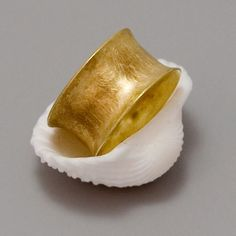 Wide Gold Band Ring  Handmade 14k Yellow Gold by toolisjewelry, $80.00