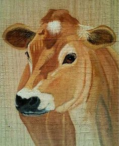 gorgeous cow painting on wood - love it!