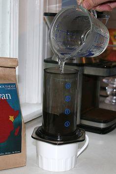 Aero press ! Make lattes at home without an espresso machine.