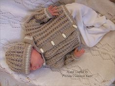 Baby Knitting Pattern - Download PDF Knitting Pattern for Baby Boys or Reborn Dolls Sweater & Hat Set in Two Sizes