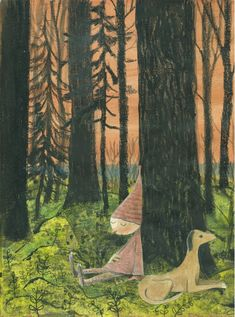 More mixed-media, collaged whimsy: A sleepy elf and his vigilant pup. Forest Art, Children's Book Illustration, Natural History, Science Nature, Childrens Books, Creatures, Drawings, World, Painting