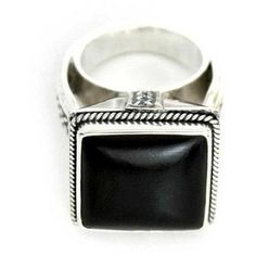 NOVICA Fair Trade Onyx and Sterling Silver Cocktail Ring