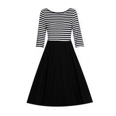 Rotita Stripe Print High Waist Black A Line Dress (96 BRL) ❤ liked on Polyvore featuring dresses, black, vintage cotton dress, striped cotton dress, elbow length sleeve dress, high waist dress and striped dress