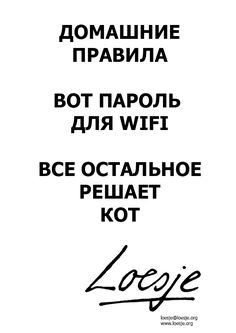 House rules / this is the Wifi code / the cat decides the rest (Russian)  - Loesje