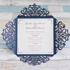 graceful navy blue laser cut wedding invitation EWWS030