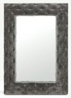 Wade Velvet Tufted Mirror in Dark Grey from Made Goods