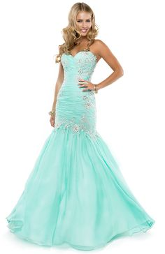 Glitzy Dress with Pleated Bodice covered in Floral Lace Motifs | by FLIRT #mint #prom #dress