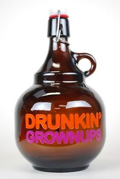 Beer Growler 2 Liter Palla Genie Growler Etched Painted DRUNKIN Grownups | eBay