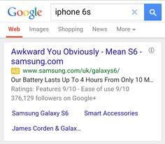 Frech: Samsung nutzt iPhone 6s für eigene Werbung - https://apfeleimer.de/2015/04/frech-samsung-nutzt-iphone-6s-fuer-eigene-werbung - Apples Dauerrivale Samsung macht mit einer raffinierten und witzigen Promotion-Aktion Werbung für sein Samsung Galaxy S6 und nutzt dabei die große Bekanntheit des iPhones schamlos aus. Denn in der Suchmaske von Google nach dem noch nicht angekündigten iPhone 6s sucht, wird prompt auf das ak...