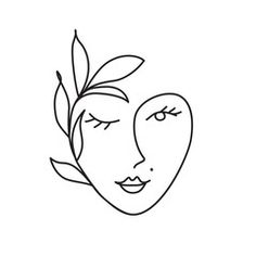 Find Woman Face Leaves Continuous Line Drawing stock images in HD and millions of other royalty-free stock photos, illustrations and vectors in the Shutterstock collection. Cute Easy Drawings, Cool Art Drawings, Drawing Sketches, Outline Art, Outline Drawings, Face Outline, Abstract Face Art, Abstract Drawings, Face Line Drawing