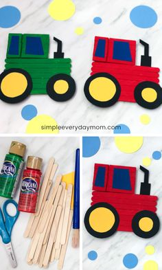Tractor Popsicle Stick Craft This fun tractor craft is made from popsicle sticks. It's a cool DIY for boys and girls and works for spring or farm unit themes. This project is great for elementary aged children. Craft Stick Projects, Popsicle Stick Crafts For Kids, Crafts For Teens To Make, Spring Crafts For Kids, Popsicle Sticks, Craft Stick Crafts, Diy For Kids, Diy And Crafts, Craft Sticks