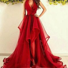 New fashions long prom dress red evening dress organza prom dresses sexy formal evening gowns