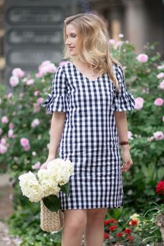 Crew Factory Tie Seeve Dress in Gingham - -J. Crew Factory Tie Seeve Dress in Gingham - - Simple Dresses, Cute Dresses, Casual Dresses, Fashion Dresses, Summer Dresses, Dresses Dresses, Petite Fashion, Mom Fashion, Big Size Fashion